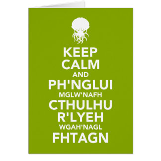 Cartes Gardez le calme et le Fhtagn
