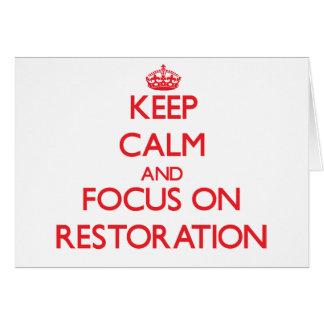 Cartes Gardez le calme et le foyer sur la restauration