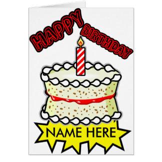 Cartes Gâteau d'anniversaire de vanille - une bougie