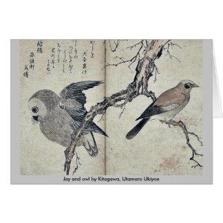 Cartes Geai et hibou par Kitagawa, Utamaro Ukiyoe