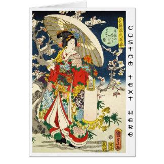 Cartes Geisha vintage classique d'ukiyo-e avec le