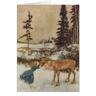 Cartes Gerda vintage et le renne par Edmund Dulac