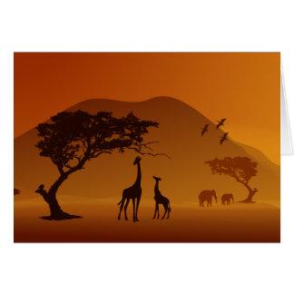 Cartes girafe avec son amour de famille de style de