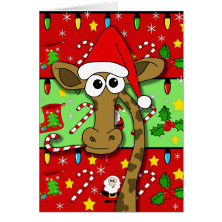 Cartes Girafe de Noël - colorée