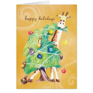 Cartes Girafe grignotant sur l'arbre de Noël