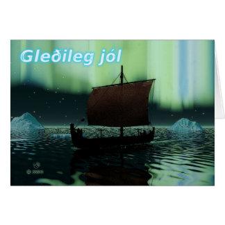 Cartes Gleðileg Jól - bateau de Viking et lumières du
