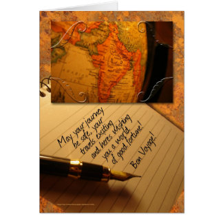 Cartes Globe de voyage de fève et stylo de calligraphie