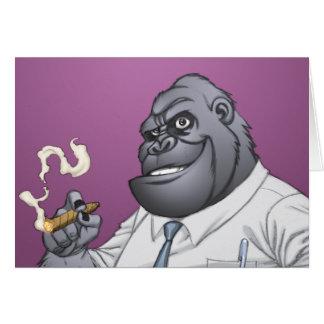 Cartes Gorille de tabagisme de patron d'homme d'affaires