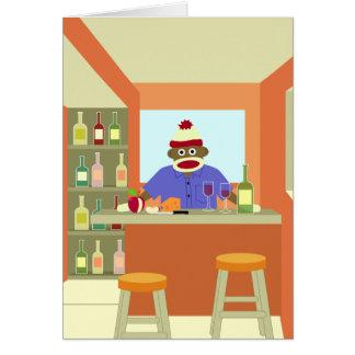 Cartes Goûteur de vin de singe de chaussette