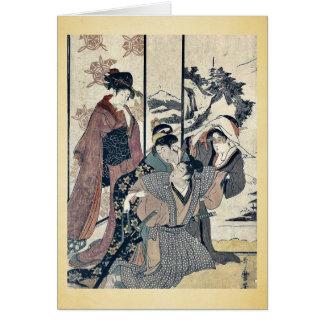 Cartes Grand nettoyage de maison par Kitagawa, Utamaro