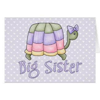 Cartes Grande soeur de tortue en pastel