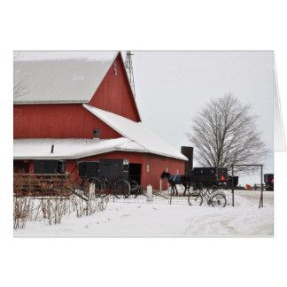 Cartes Grange amish au temps de Noël