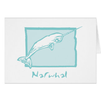 Cartes Gravure sur bois Narwhal