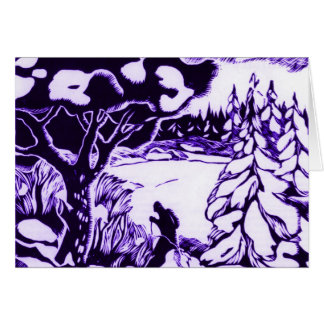Cartes Gravure sur bois vintage en Noël, skieur dans la