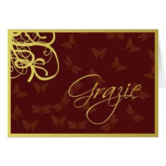 Cartes Grazie brun chocolat et or
