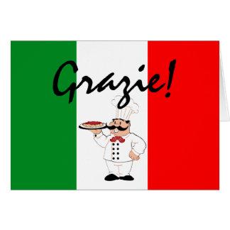 Cartes Grazie remercie le chef italien