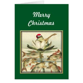 Cartes Grenouille avec le banjo chantant le Joyeux Noël