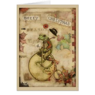 Cartes Grenouille vintage sur Noël de casquette de