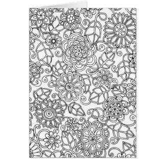 Cartes Griffonnage floral ethnique