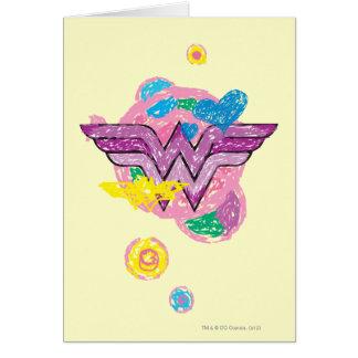 Cartes Griffonnages colorés de femme de merveille