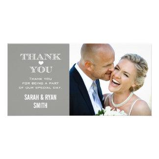 Cartes grises de Merci de photo de mariage de coeu Modèle Pour Photocarte