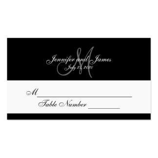 Cartes grises noires d'endroit de mariage de monog carte de visite