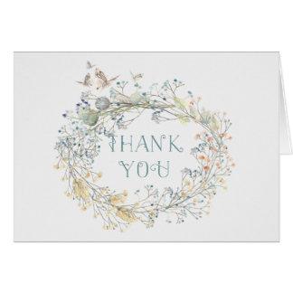 Cartes Guirlande de fleur sauvage avec le Merci du