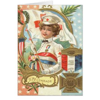 Cartes Guirlande de fleurs d'infirmière de Croix-Rouge