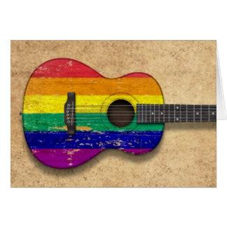 Cartes Guitare acoustique d'arc-en-ciel de drapeau usé de