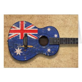 Cartes Guitare acoustique de drapeau australien usé