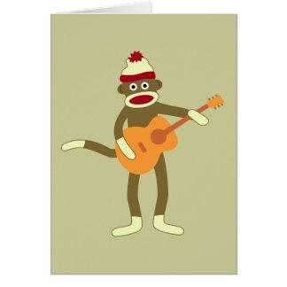 Cartes Guitare acoustique de singe de chaussette