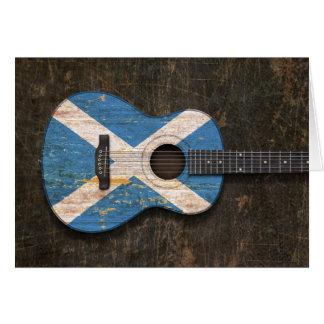 Cartes Guitare acoustique rayée et utilisée de drapeau