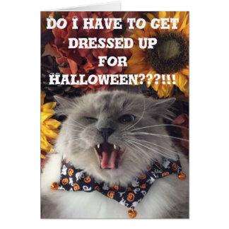 Cartes Halloween heureux/carte grincheuse de chat