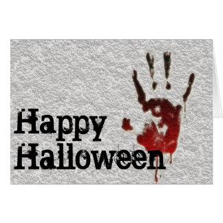 Cartes Halloween heureux Handprint sanglant