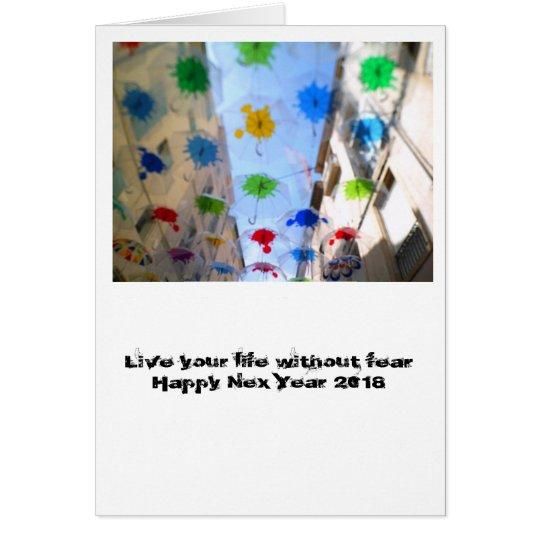 Cartes Happy New 2018 card parapluie de Beziers