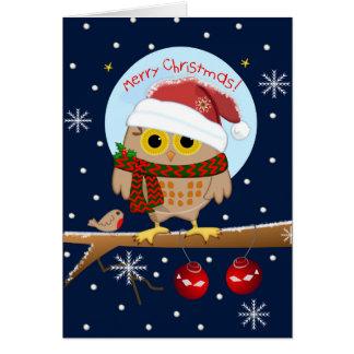 Cartes Hibou de casquette de Père Noël et texte mignons
