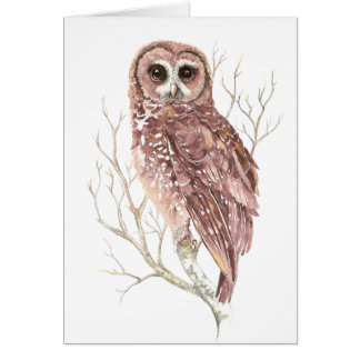 Cartes Hibou fait sur commande d'aquarelle, oiseau,