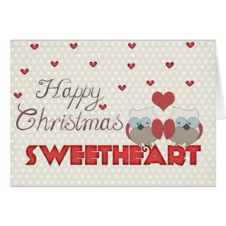 Cartes Hiboux d'amoureux de Noël heureux
