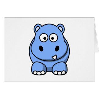 Cartes Hippopotame bleu mignon
