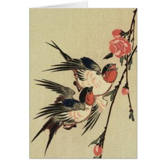 Cartes Hirondelles de Hiroshige et fleurs de pêche