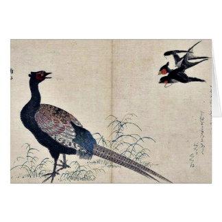 Cartes Hirondelles et faisan par Kitagawa, Utamaro Ukiyoe