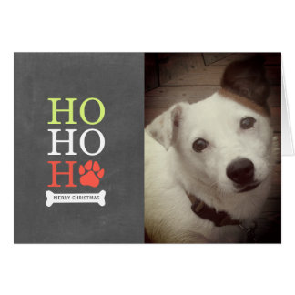 Cartes Ho Ho Ho Noël de photo de chien de Pawprint - vert