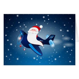 Cartes Ho ho ho ! Père Noël sur l'avion