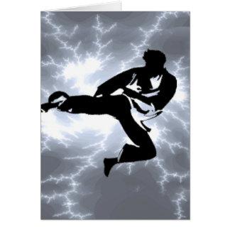 Cartes Homme argenté de foudre d'arts martiaux