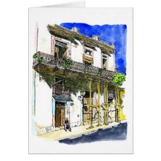 Cartes Homme s'asseyant devant la Chambre, Habana Vieja,