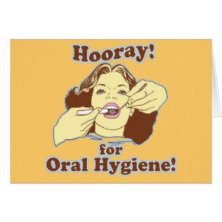 Cartes Hourra pour l'hygiène buccale rétro