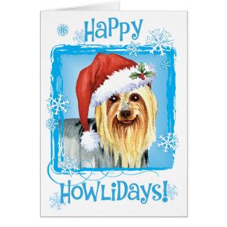 Cartes Howlidays heureux Terrier soyeux