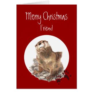 Cartes Humour animal de loutre d'ami de Joyeux Noël