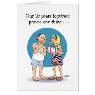 Cartes Humour d'amour d'anniversaire de 10 ans