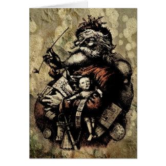 Cartes Illustration usée et éclaboussée de Père Noël